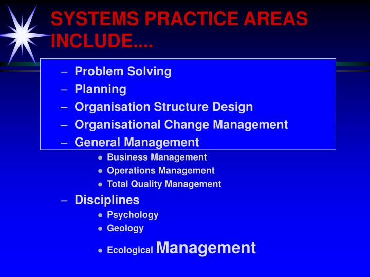 SYSTEMS PRACTICE AREAS INCLUDE....