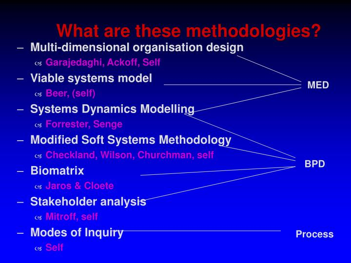 What are these methodologies?