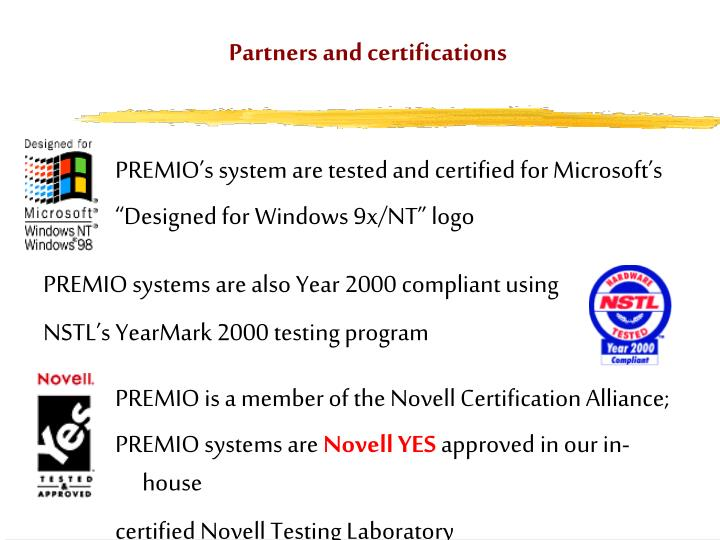 Partners and certifications1