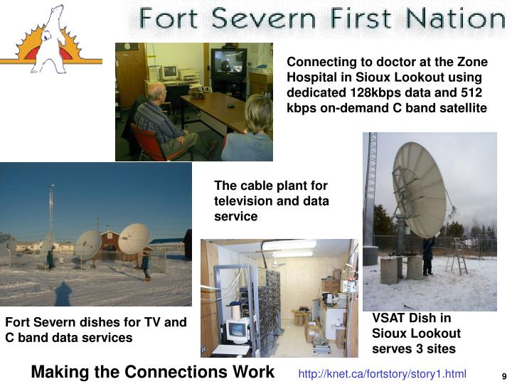 Connecting to doctor at the Zone Hospital in Sioux Lookout using dedicated 128kbps data and 512 kbps on-demand C band satellite