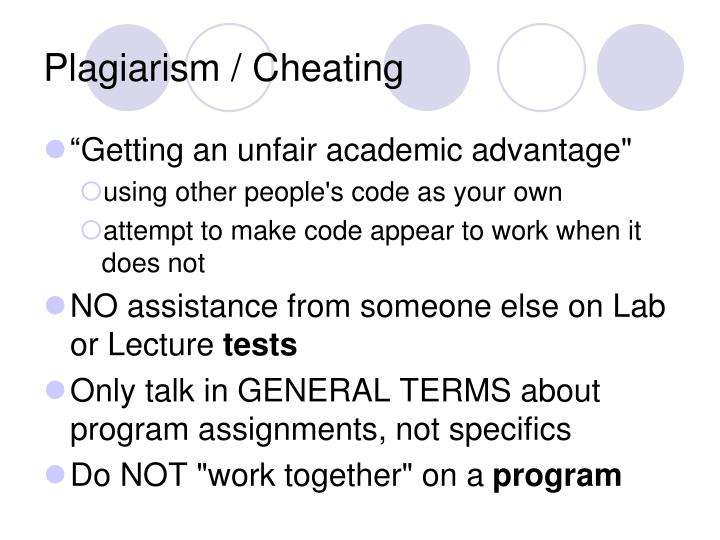 Plagiarism / Cheating