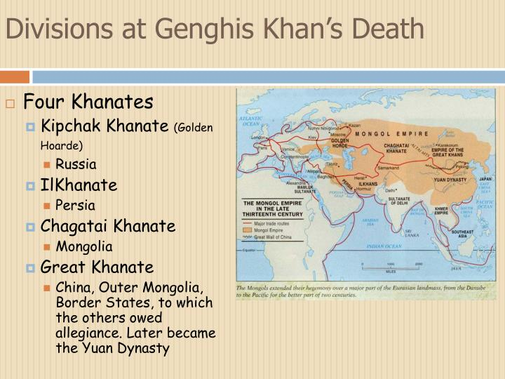 Divisions at Genghis Khan's Death