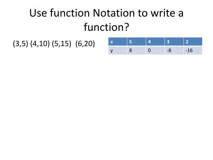 Use function Notation to write a function?