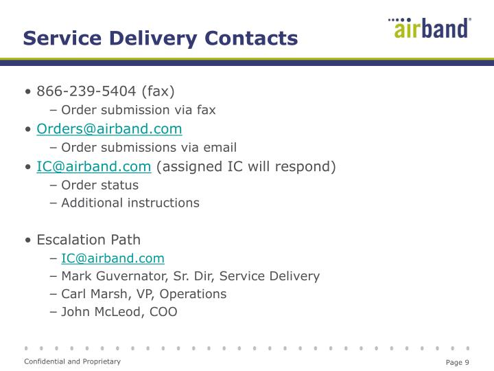 Service Delivery Contacts