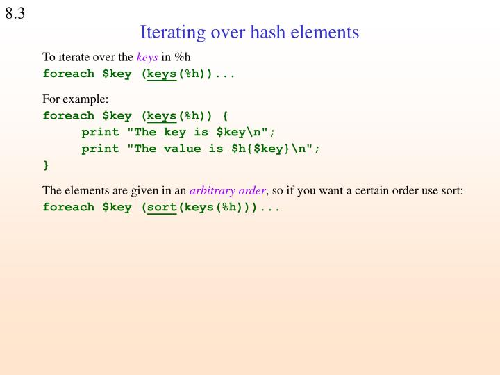Iterating over hash elements