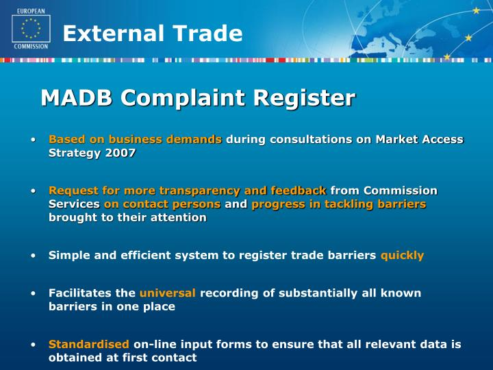 MADB Complaint Register