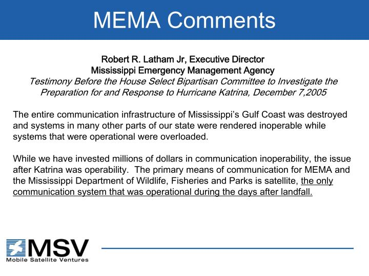 MEMA Comments