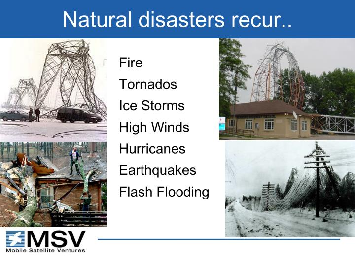 Natural disasters recur..