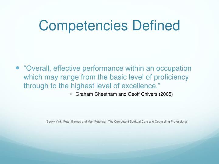 Competencies Defined
