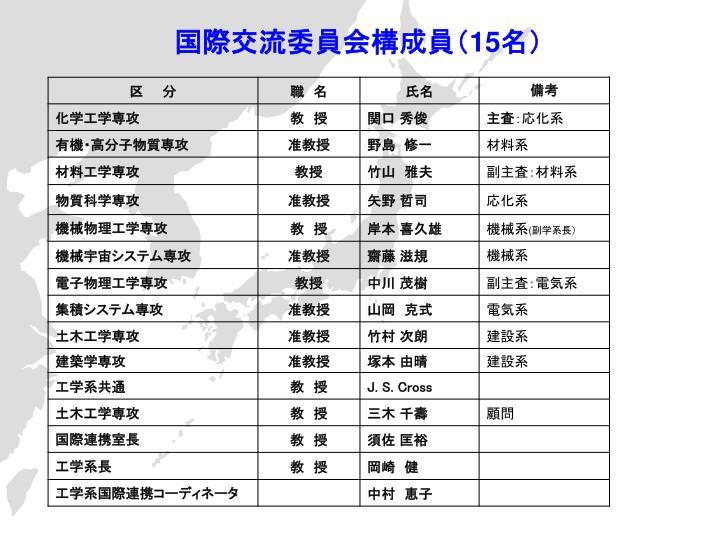 国際交流委員会構成員(