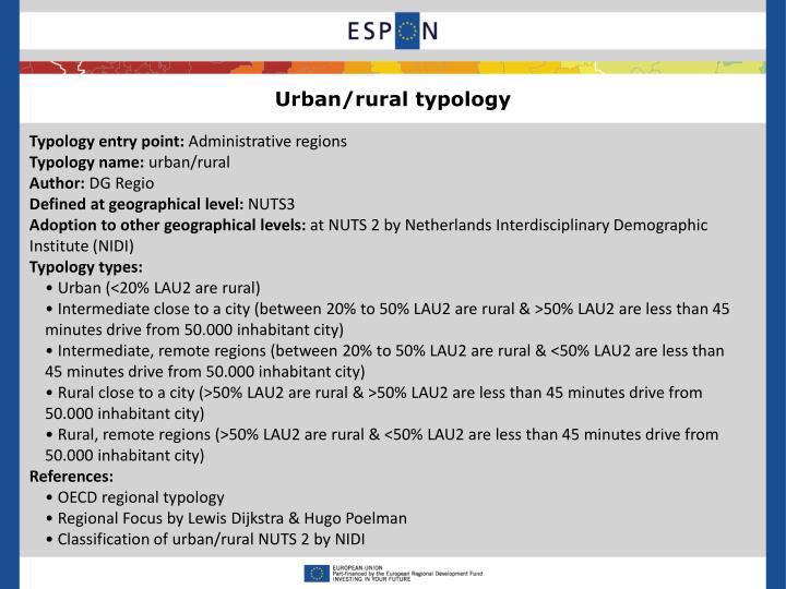 Urban/rural typology
