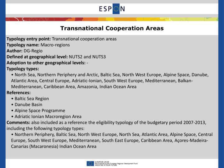 Transnational Cooperation Areas