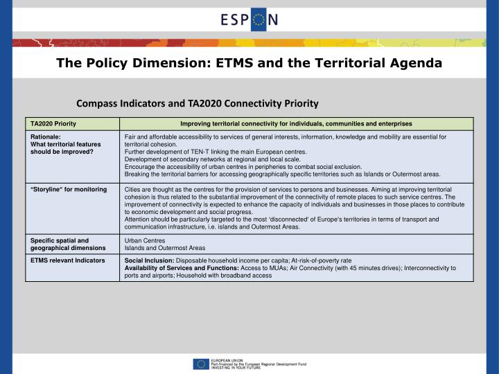 The Policy Dimension: ETMS and the Territorial Agenda