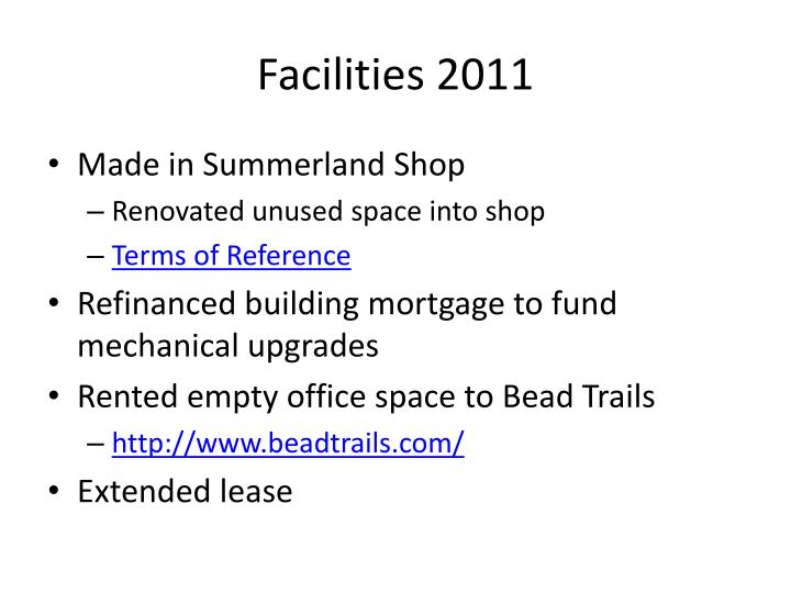 Facilities 2011