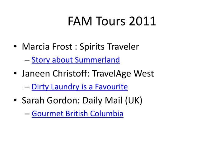 FAM Tours 2011