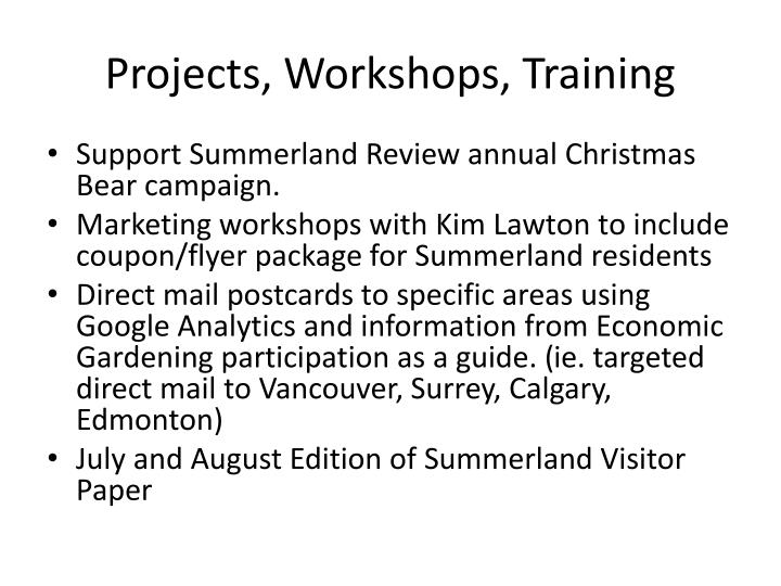 Projects, Workshops, Training