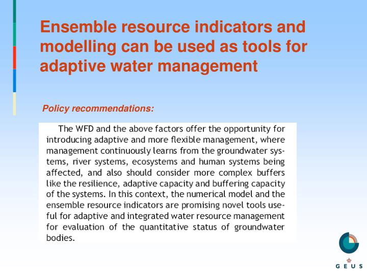 Ensemble resource indicators and modelling can be used as tools for adaptive water management