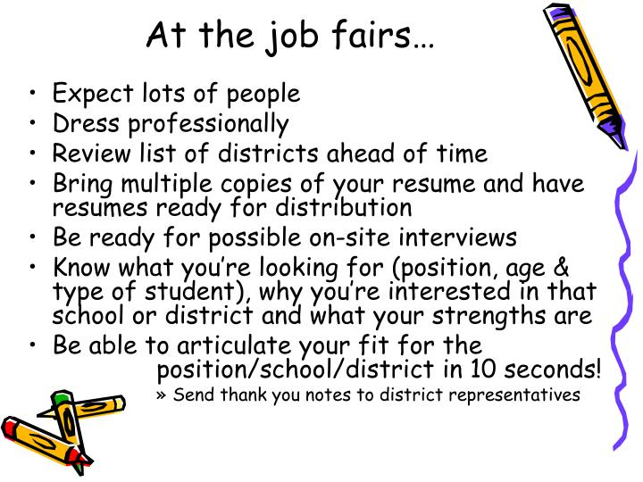 At the job fairs…