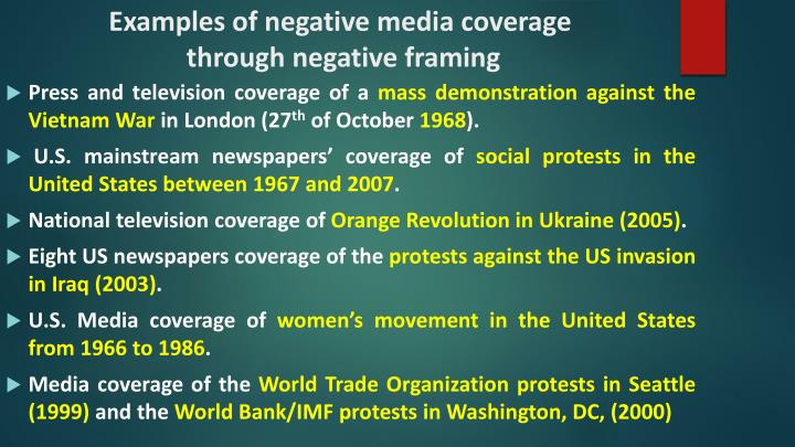 Examples of negative media coverage