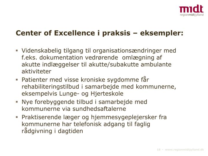Center of Excellence i praksis – eksempler: