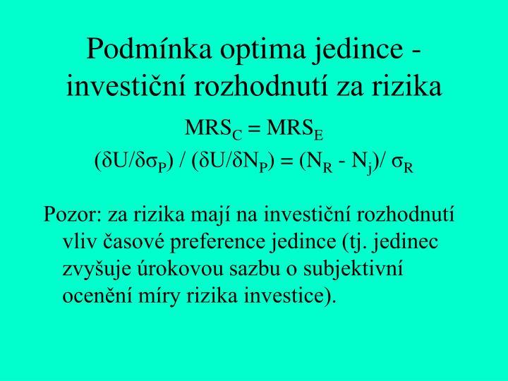 Podmínka optima jedince - investiční rozhodnutí za rizika