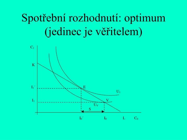 Spotřební rozhodnutí: optimum (jedinec je věřitelem)