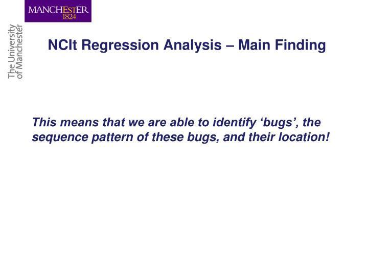 NCIt Regression Analysis – Main Finding