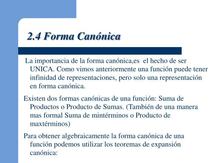 2.4 Forma Canónica
