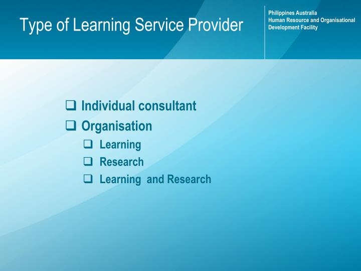 Type of learning service provider
