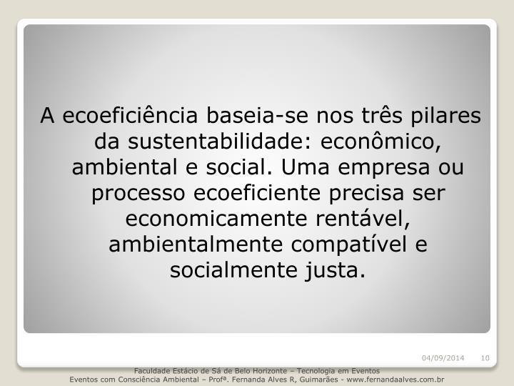A ecoeficiência baseia-se nos três pilares da sustentabilidade: econômico, ambiental e social. Uma empresa ou processo ecoeficiente precisa ser economicamente rentável, ambientalmente compatível e socialmente justa.