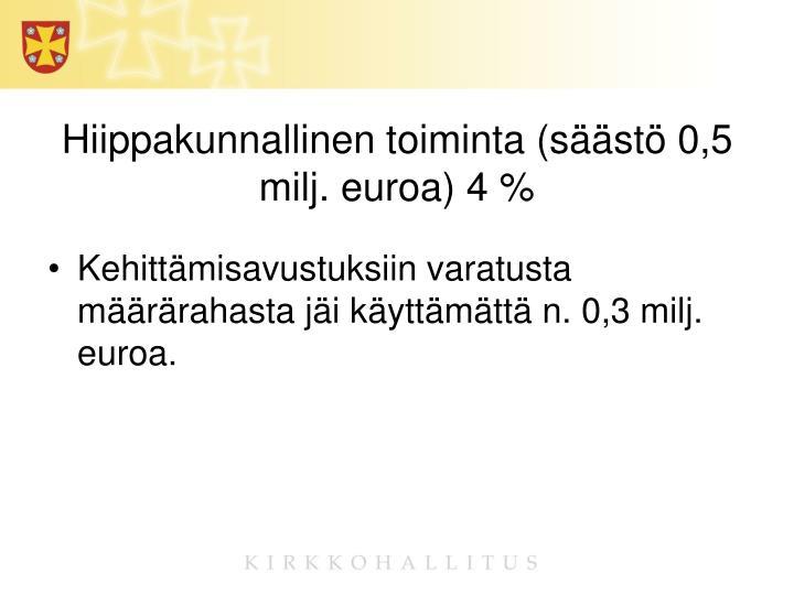 Hiippakunnallinen toiminta (säästö 0,5 milj. euroa) 4 %