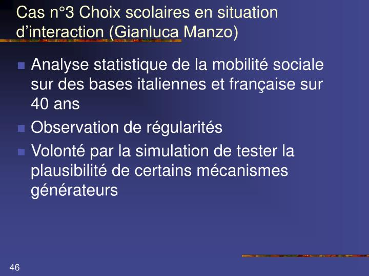 Cas n°3 Choix scolaires en situation d'interaction (Gianluca Manzo)