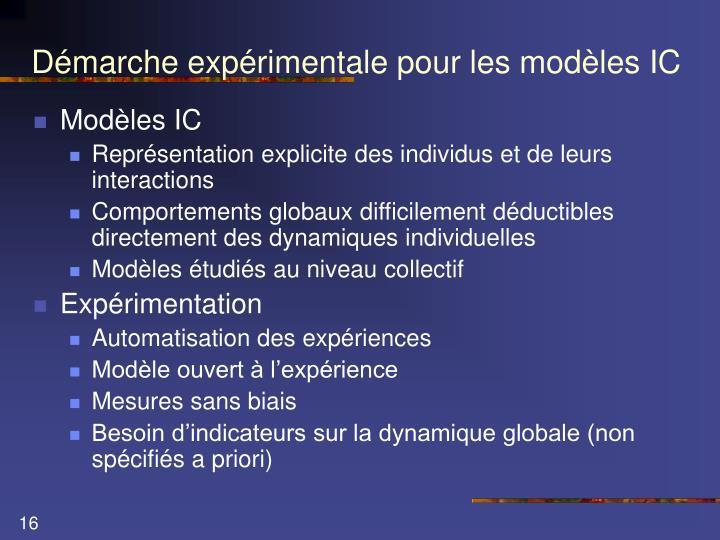 Démarche expérimentale pour les modèles IC