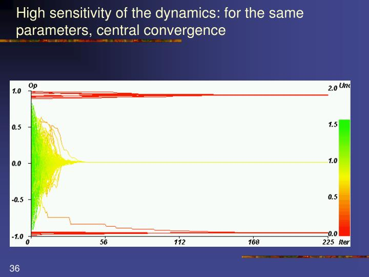 High sensitivity of the dynamics: for the same parameters, central convergence