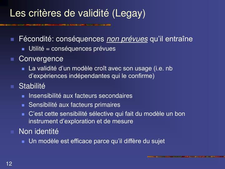 Les critères de validité (Legay)