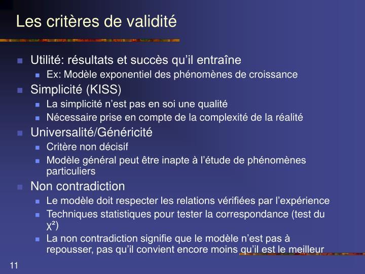 Les critères de validité