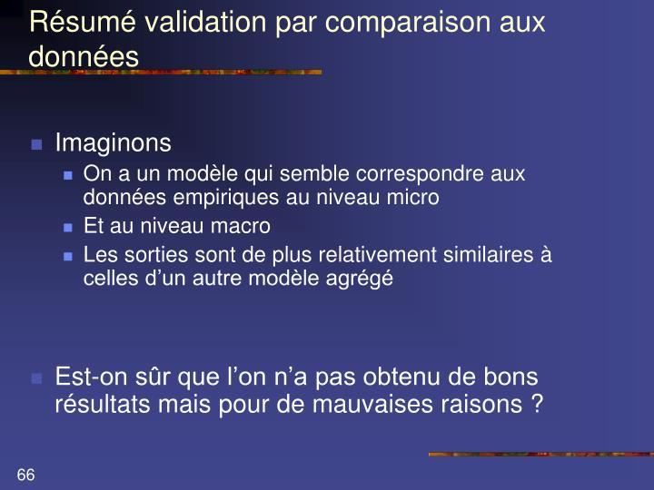 Résumé validation par comparaison aux données