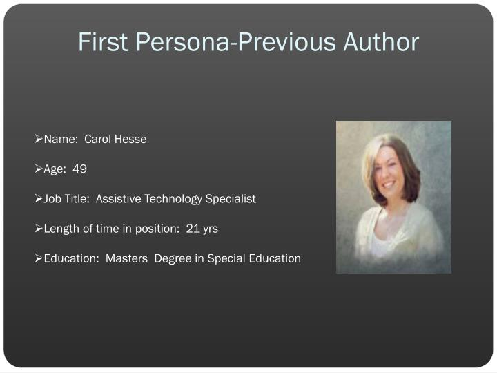 First Persona-Previous Author