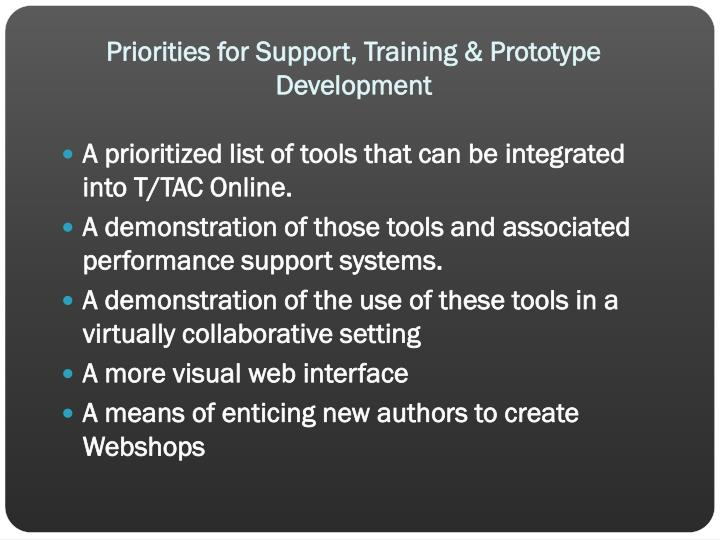 Priorities for Support, Training & Prototype