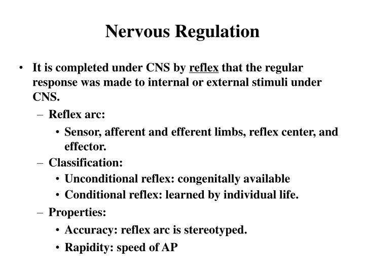 Nervous Regulation