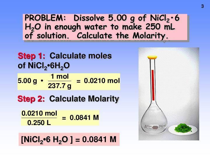 PROBLEM:  Dissolve 5.00 g of NiCl