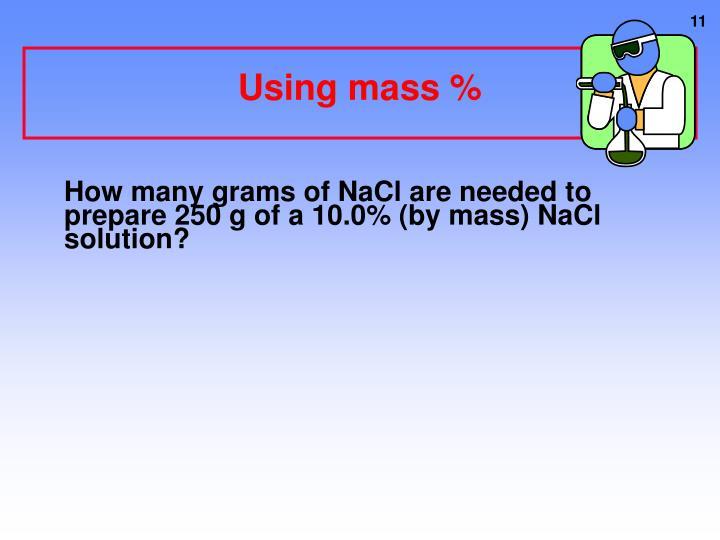 Using mass %