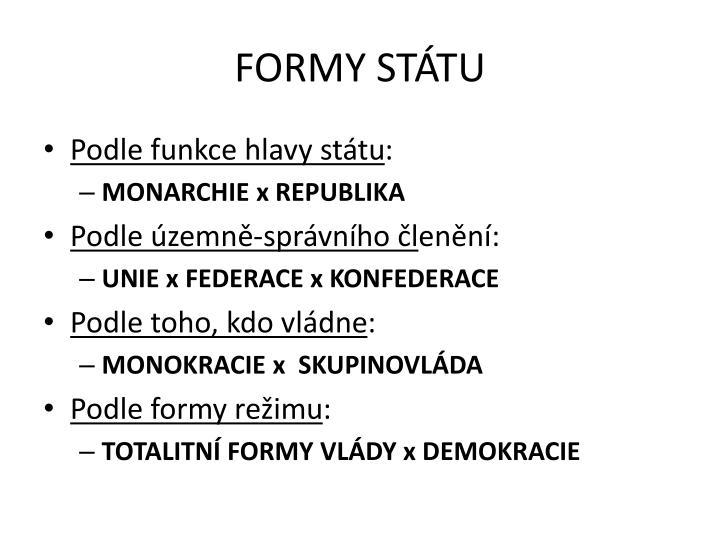 FORMY STÁTU