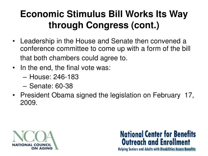 Economic Stimulus Bill Works Its Way through Congress (cont.)