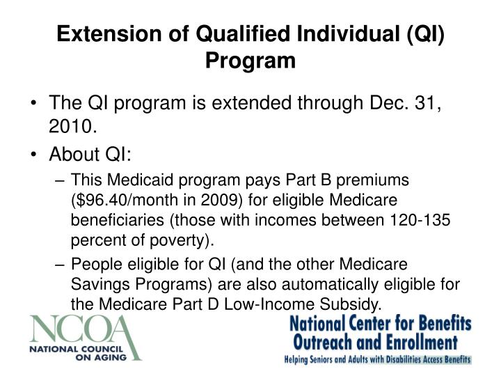 Extension of Qualified Individual (QI) Program