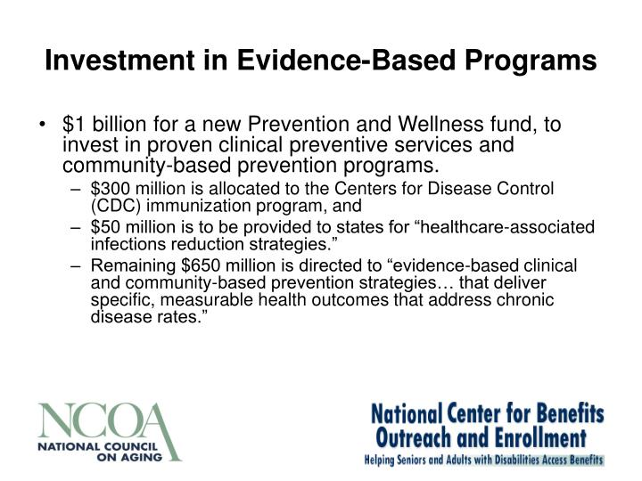 Investment in Evidence-Based Programs