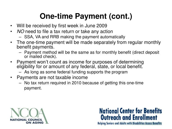 One-time Payment (cont.)