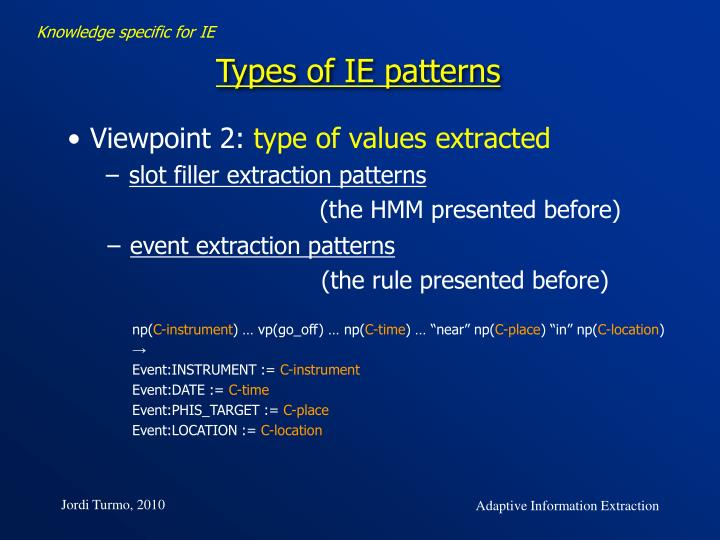 Knowledge specific for IE