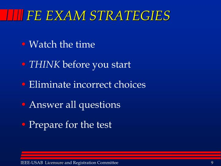 FE EXAM STRATEGIES