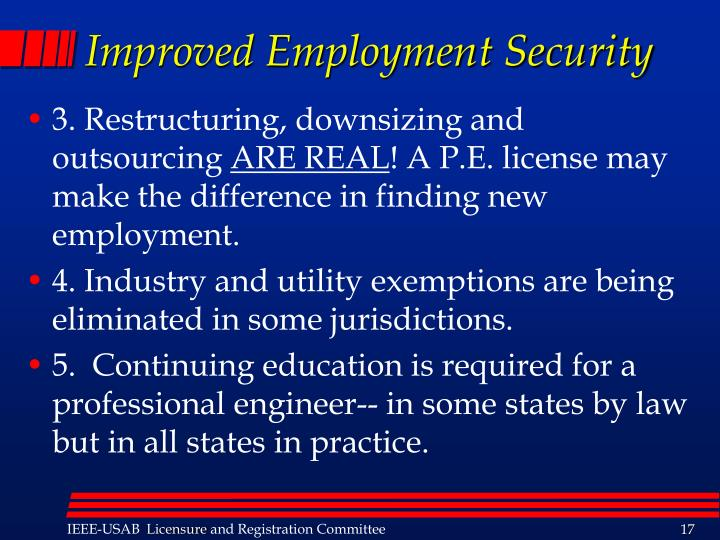 Improved Employment Security